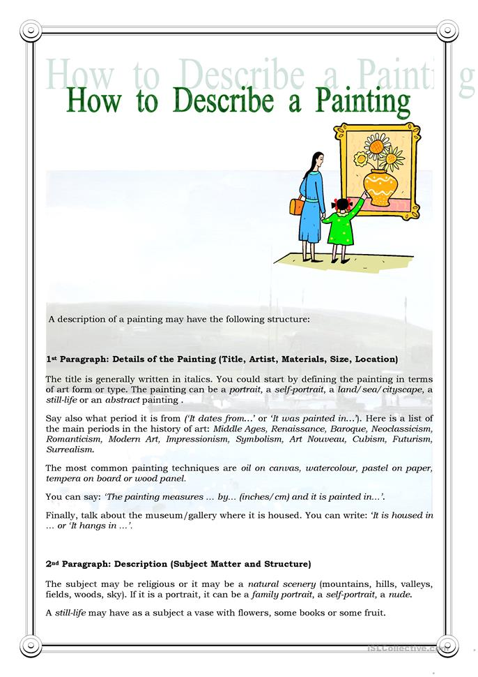 How to Describe a Painting worksheet - Free ESL printable worksheets ...