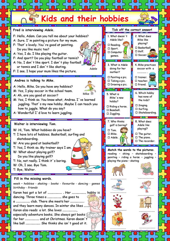 kids and their hobbies key worksheet free esl printable worksheets made by teachers. Black Bedroom Furniture Sets. Home Design Ideas