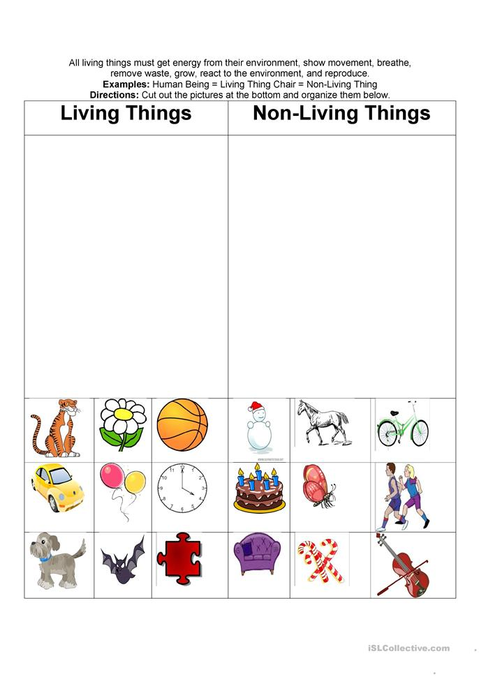 living u0026 nonliving things worksheet - Free ESL printable ...