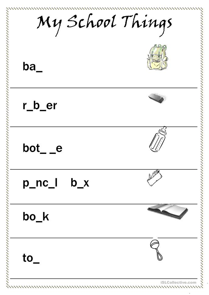 School Worksheets For Teachers : My school things worksheet free esl printable worksheets