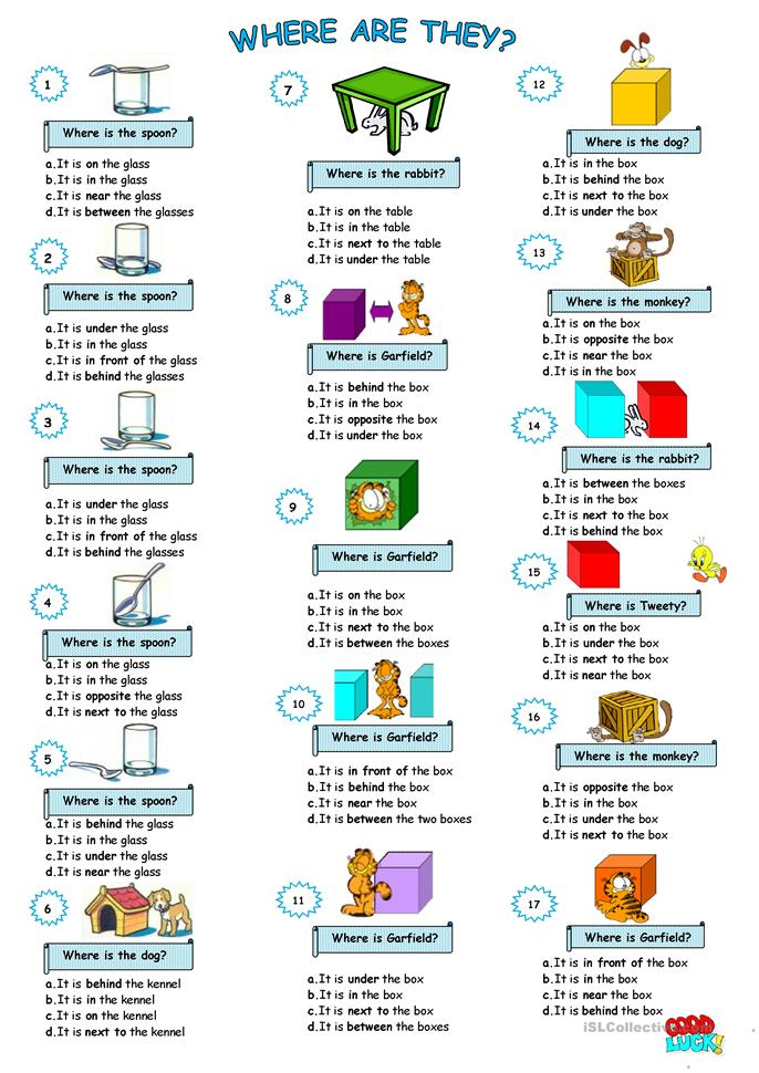 English In Italian: Prepositions Of Place Worksheet