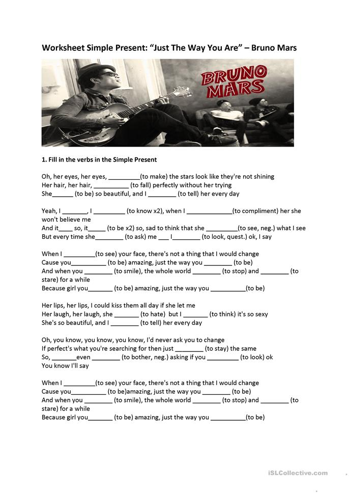 "Present Simple exercise ""Just the way... - ESL worksheets"