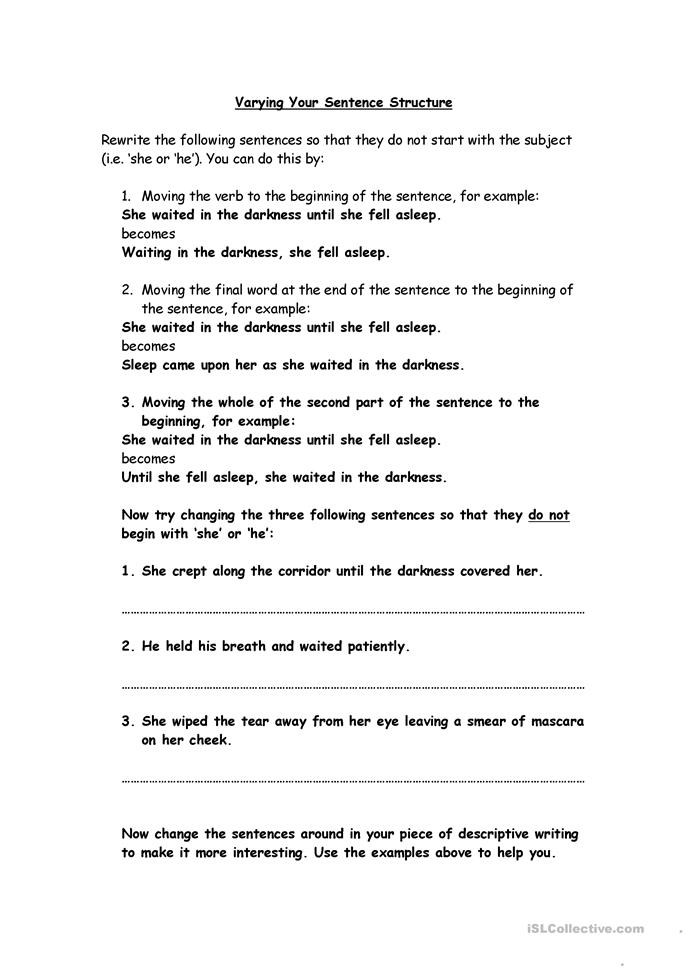 Printables Sentence Structure Worksheets 26 free esl sentence structure worksheets structure