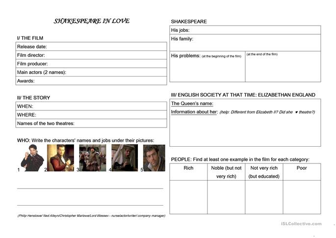 30 FREE ESL shakespeare worksheets – Shakespeare Worksheets
