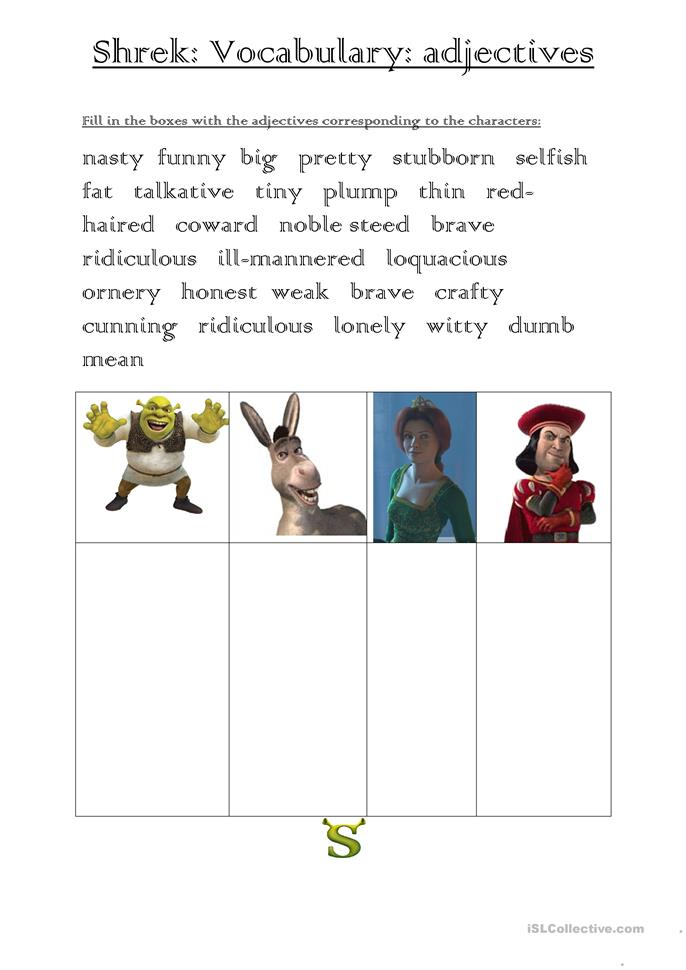 SHREK ADJECTIVES VOCABULARY worksheet - Free ESL printable ...