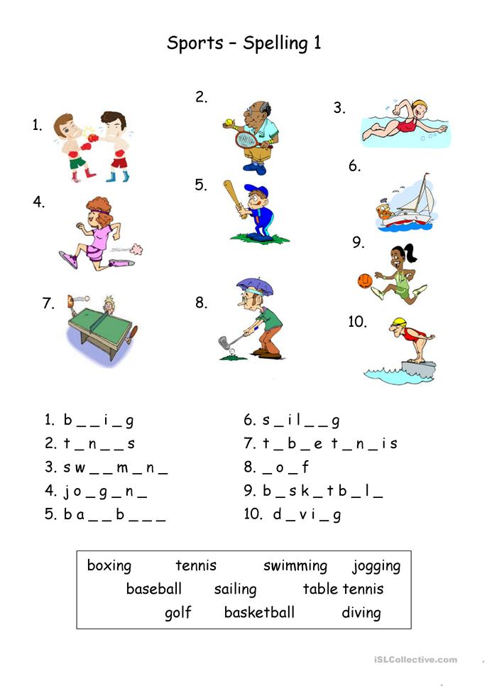sports spelling worksheet free esl printable worksheets made by teachers. Black Bedroom Furniture Sets. Home Design Ideas