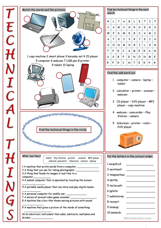 172 FREE ESL Computers & Technology worksheets