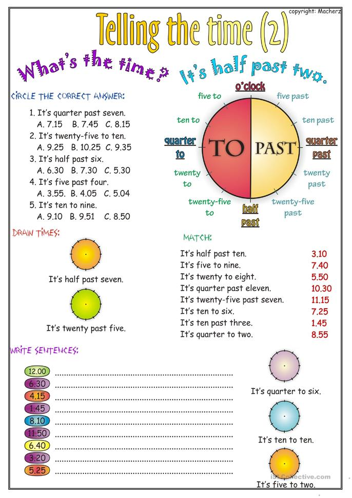 Telling the time worksheet part 2 worksheet - Free ESL printable ...
