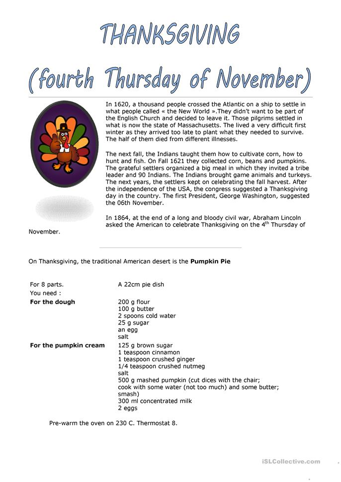 Worksheet Parts Of A Recipe : Thanksgiving recipe worksheet free esl printable