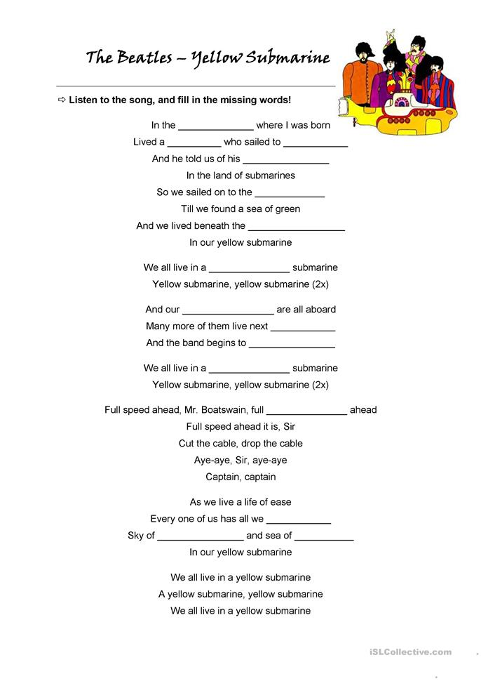 Song Worksheet What Does The Fox Say By Ylvis: The Beatles + Song: Yellow Submarine Worksheet