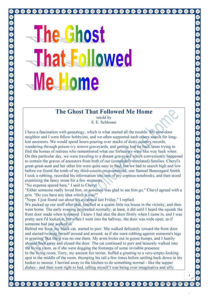 The Ghost thet followed me home - ESL worksheets