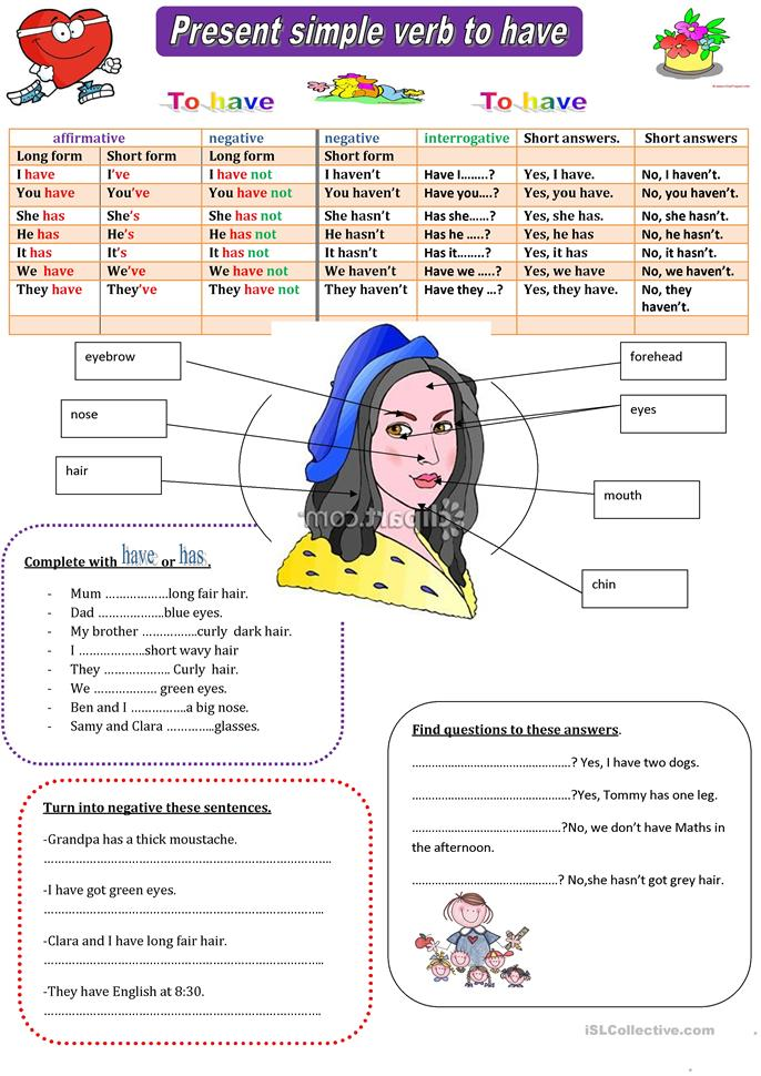 the verb to have prese... - ESL worksheets