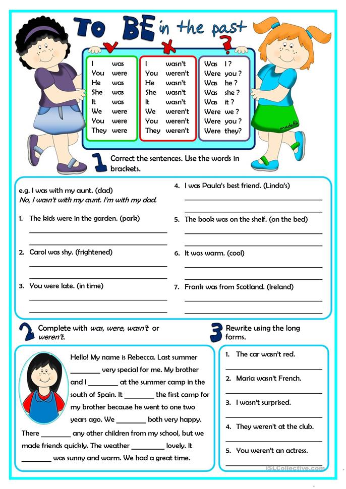 To Be - in the past - ESL worksheets