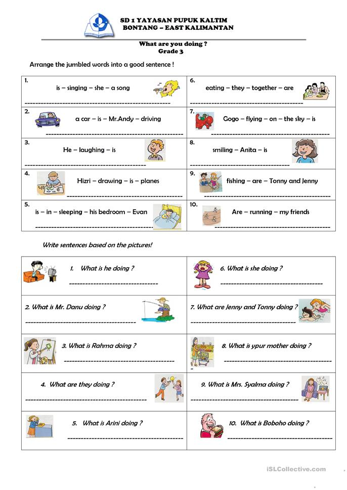 What are you doing ? - ESL worksheets