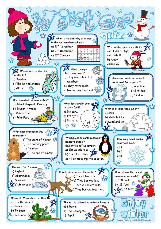 Winter quiz - ESL worksheets