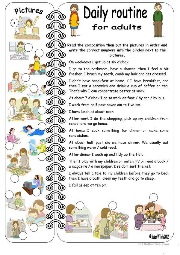 Daily Routines For Adults Elementary With Key Worksheet