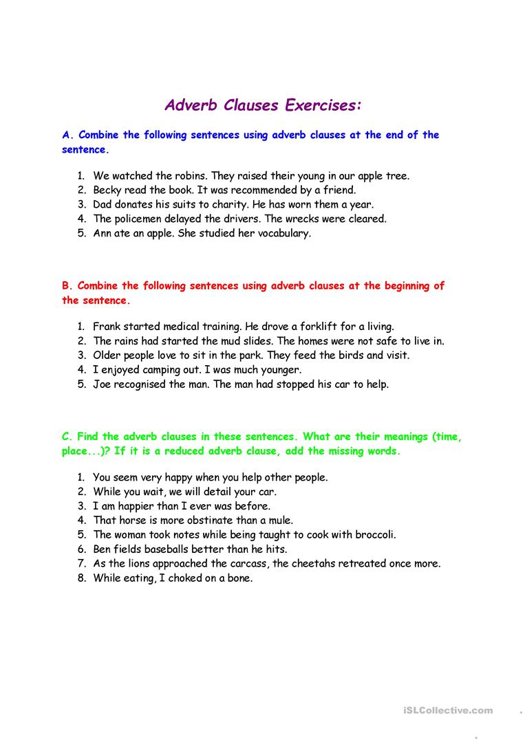 Worksheets Adverb Clause Worksheet adjective adverb clause worksheet free esl printable worksheets full screen