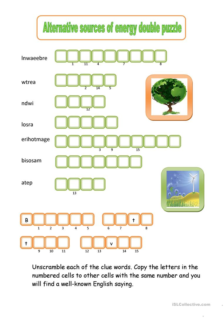 Alternative sources of energy double puzzle worksheet for Solar energy games