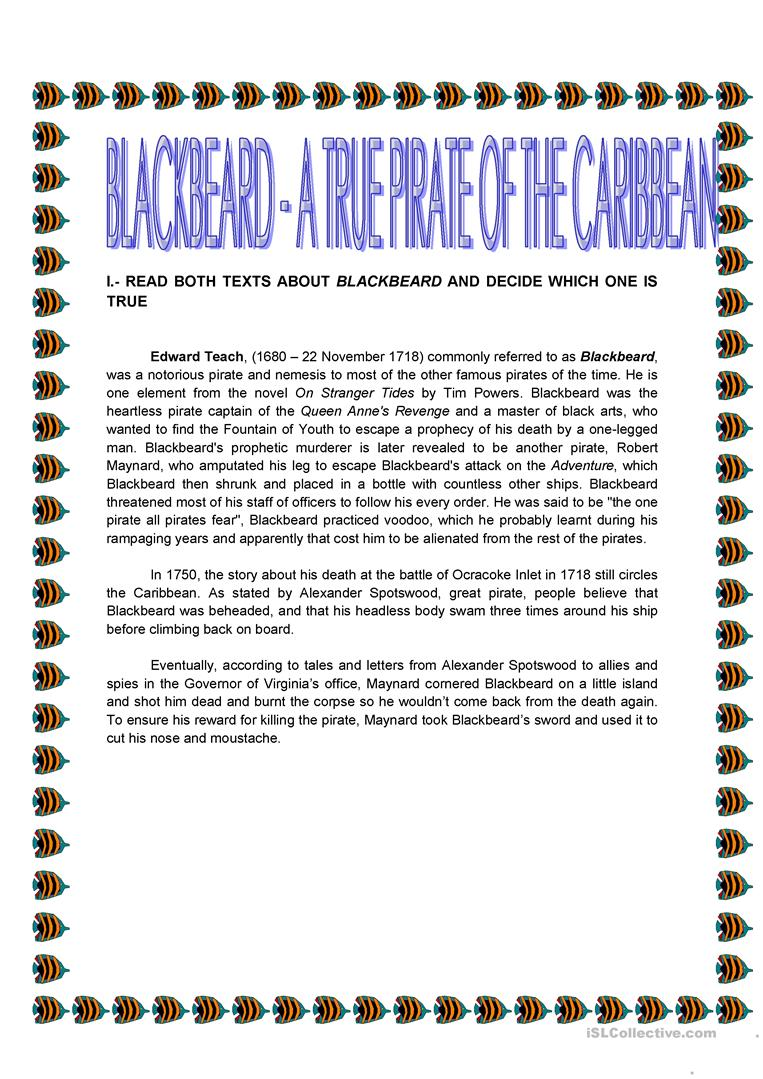 Worksheets Alexander The Great Worksheet blackbeard a true pirate of the caribbean worksheet free esl full screen