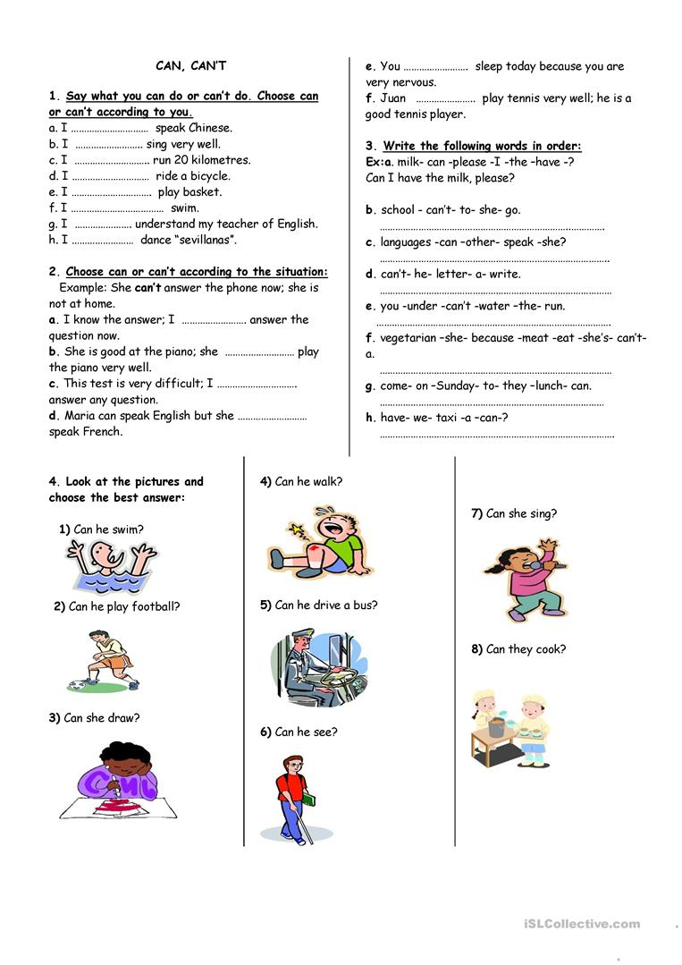 Workbooks using illustrations to understand text worksheets : can can't worksheet worksheet - Free ESL printable worksheets made ...