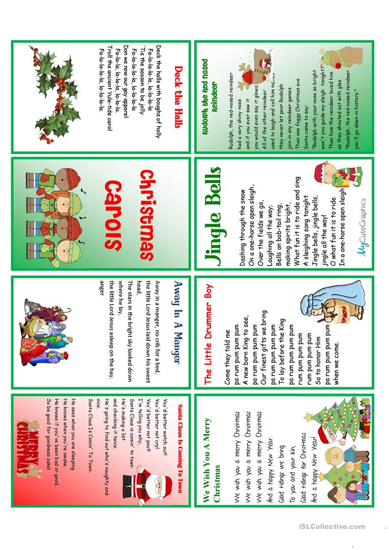 28 FREE ESL Christmas Carol worksheets