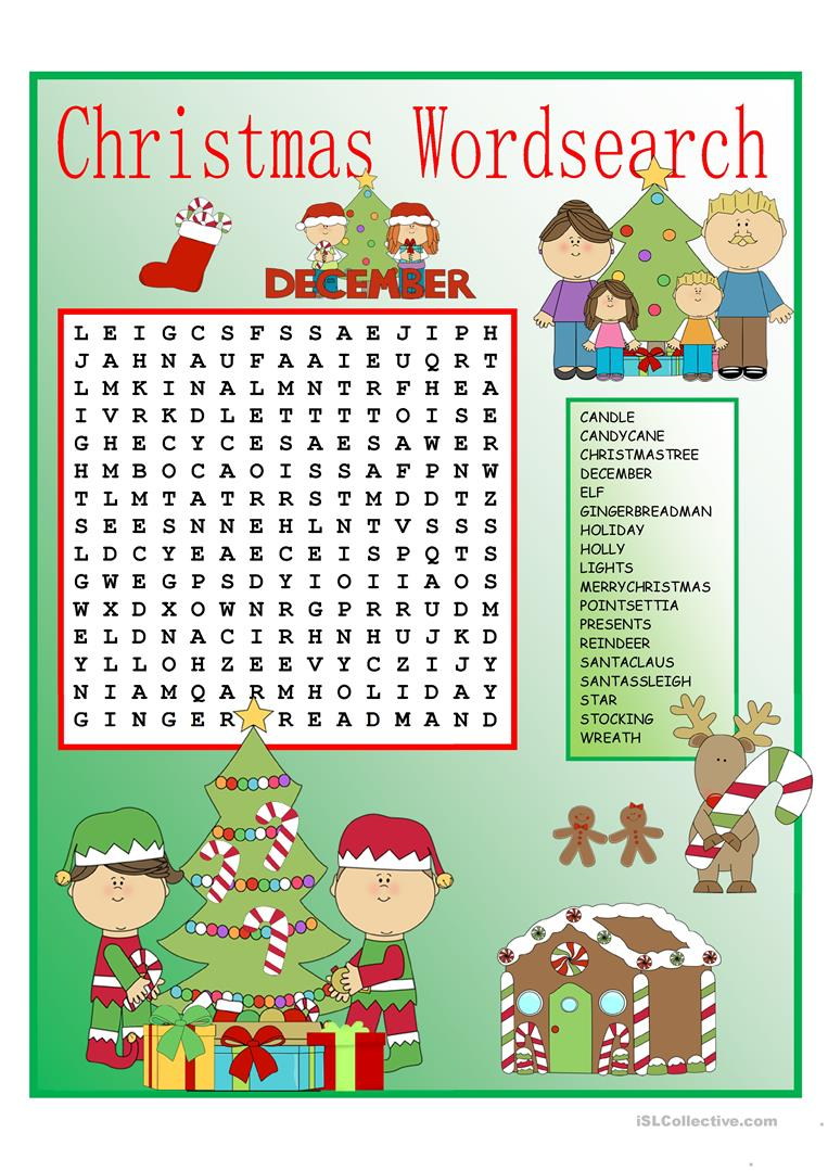 Christmas Wordsearch With Key English Esl Worksheets