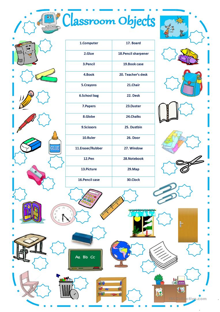 Classroom Games Ideas For College Students ~ Classroom objects worksheet free esl printable