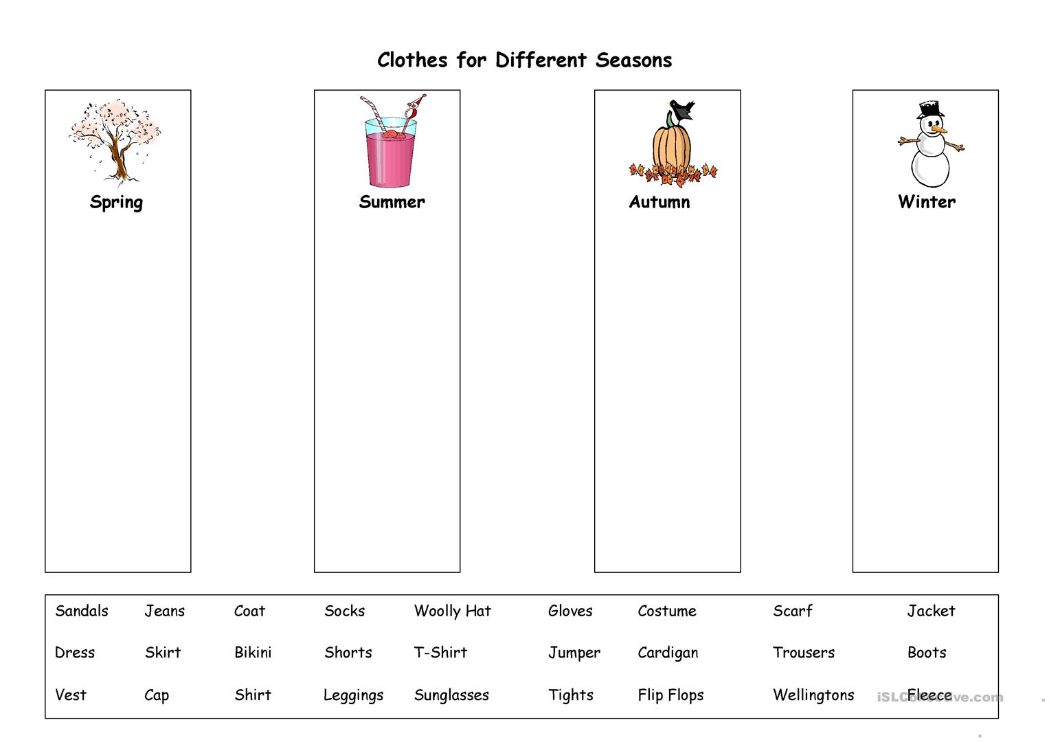 clothes for different seasons worksheet free esl printable worksheets made by teachers. Black Bedroom Furniture Sets. Home Design Ideas