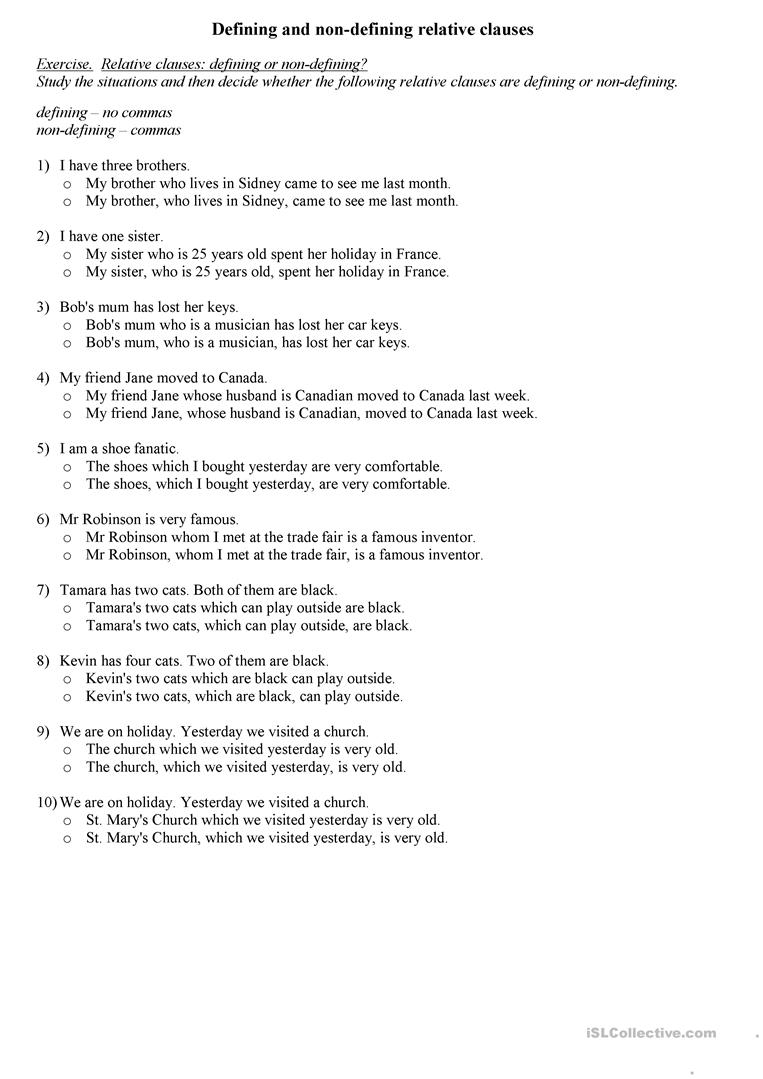 Worksheets Clauses Worksheet defining and non relative clauses worksheet free esl full screen