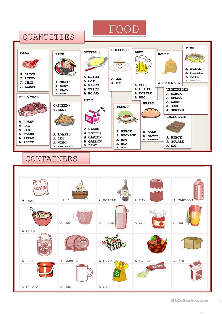 Food quantity and containers worksheet free esl printable worksheets made by teachers for Cuisine vocabulary