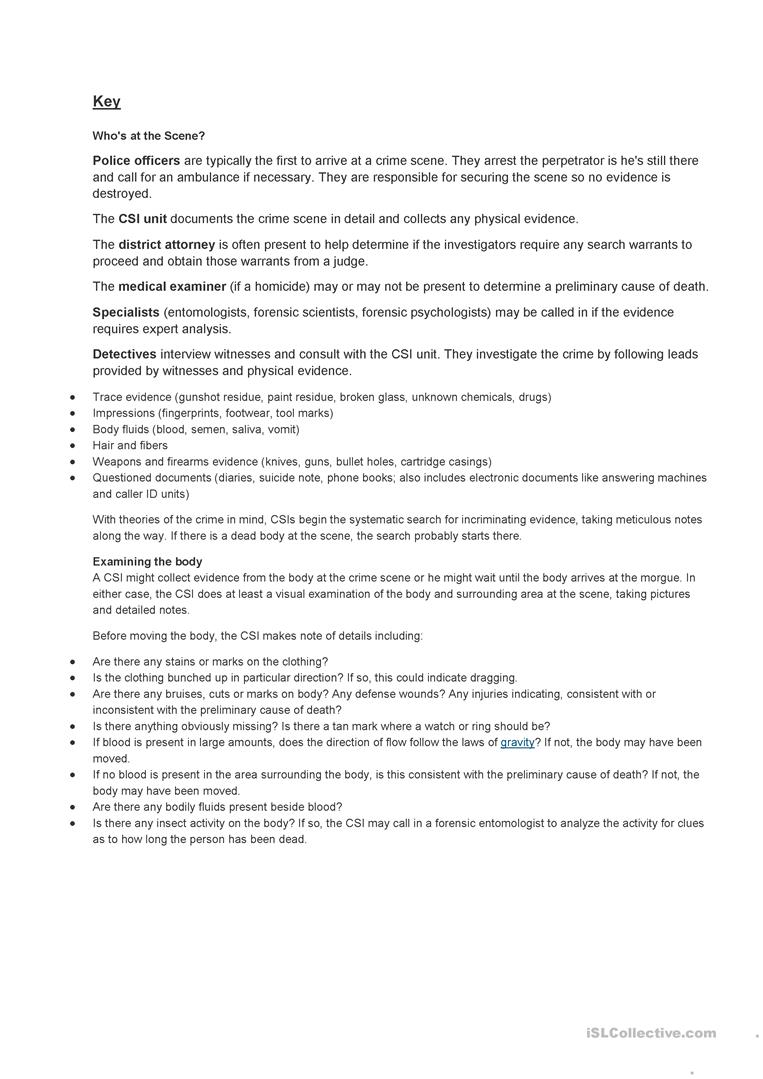 How Detectives Work English Esl Worksheets For Distance Learning And Physical Classrooms