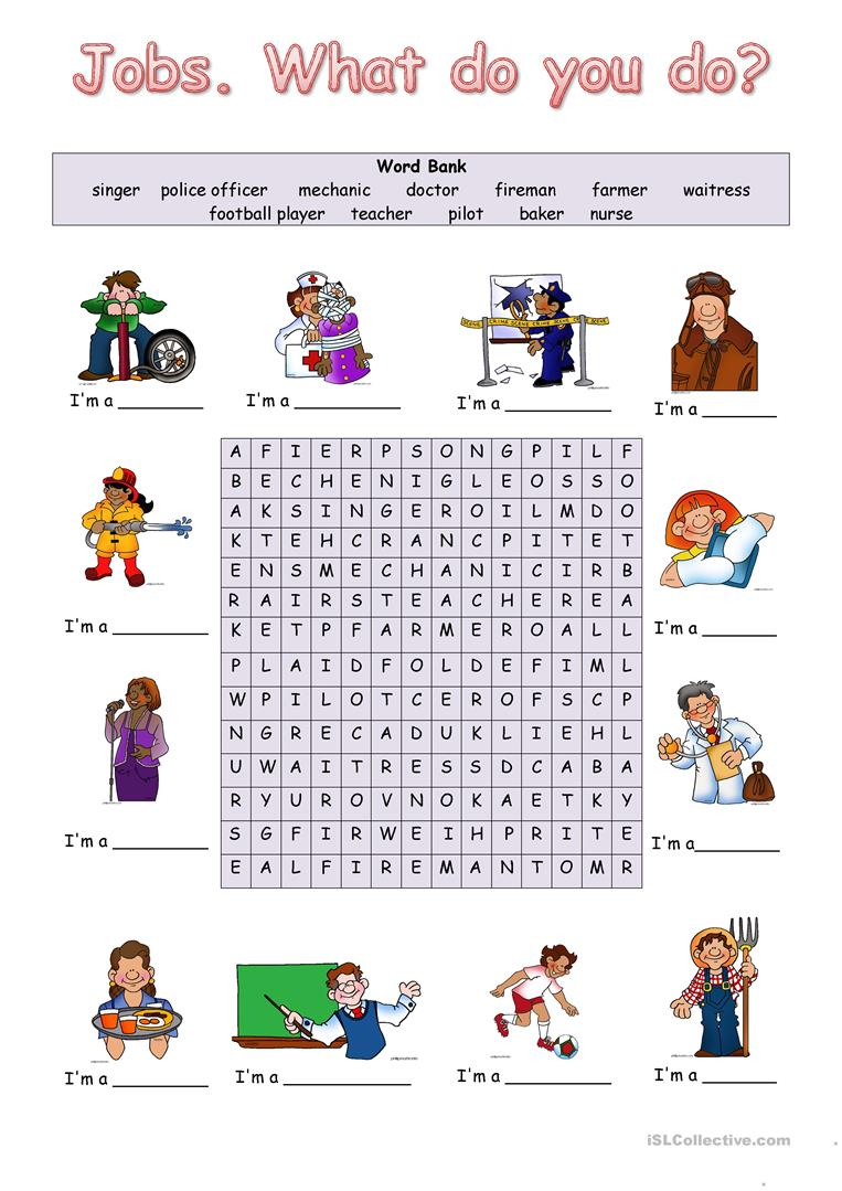 Jobs  What do you do? worksheet - Free ESL printable worksheets made
