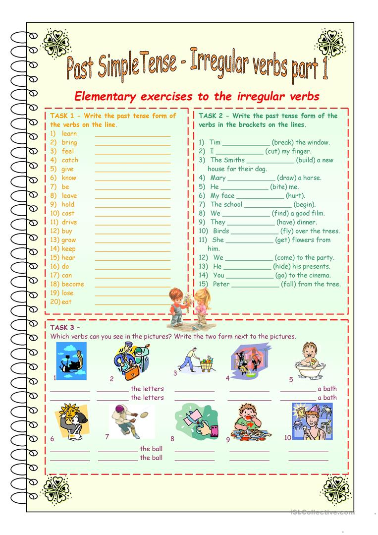 Past Simple Tense * Irregular verbs part 1 * 3 pages ...