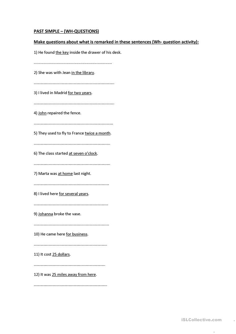 PAST SIMPLE – (WH-QUESTIONS) activity worksheet - Free ESL printable ...