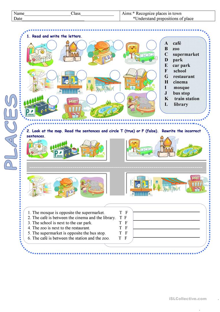 places in town directions worksheet free esl printable worksheets made by teachers. Black Bedroom Furniture Sets. Home Design Ideas
