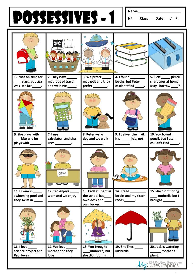 esl possessive adjectives worksheet pdf