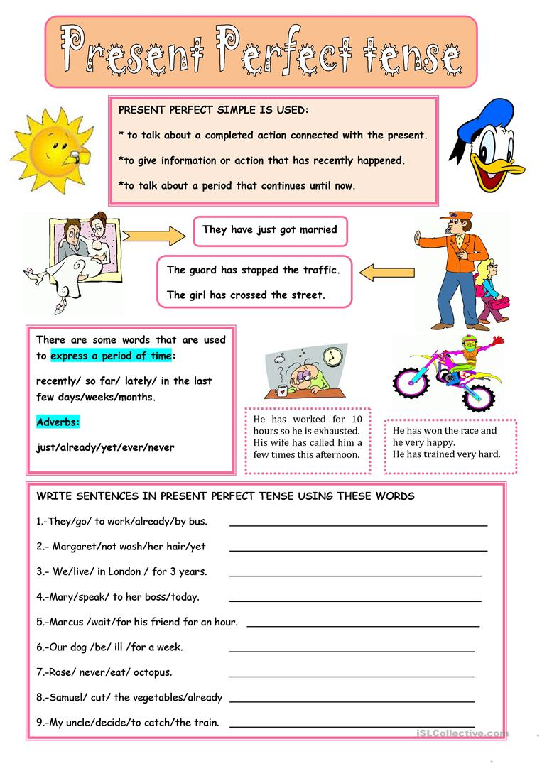 PRESENT PERFECT TENSE   English ESL Worksheets for ...