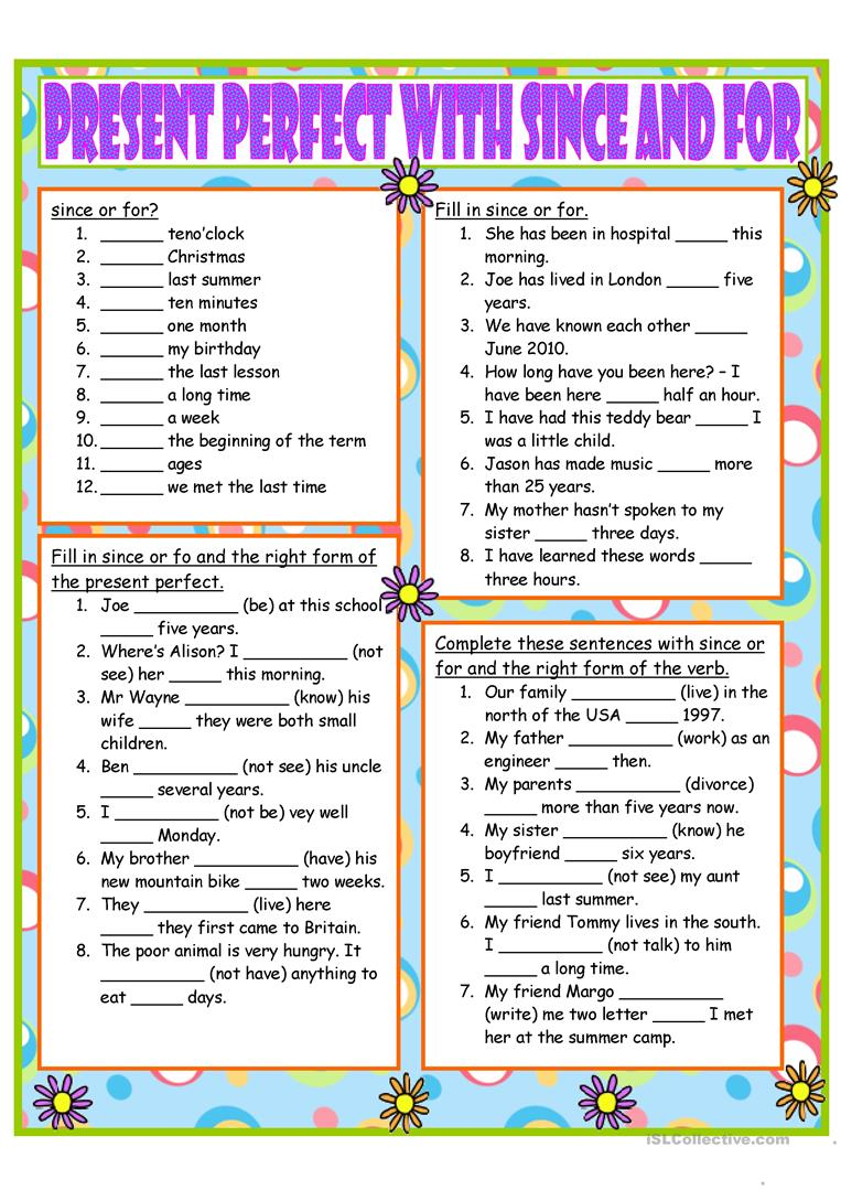 Present Perfect With Since And For Worksheet Free Esl Printable