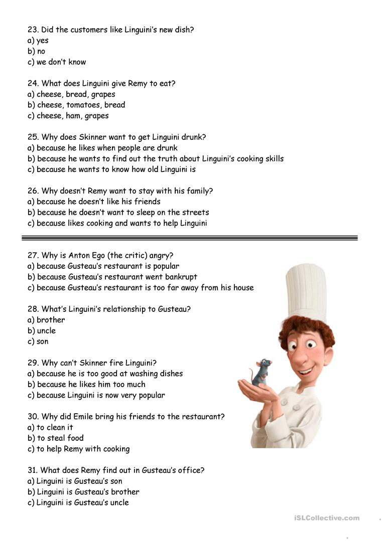 ratatouille worksheet free esl printable worksheets made by teachers. Black Bedroom Furniture Sets. Home Design Ideas
