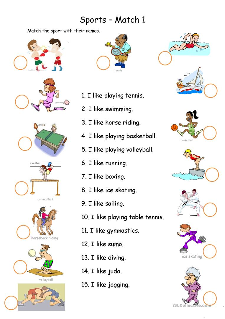 sports matching worksheet free esl printable worksheets made by teachers. Black Bedroom Furniture Sets. Home Design Ideas