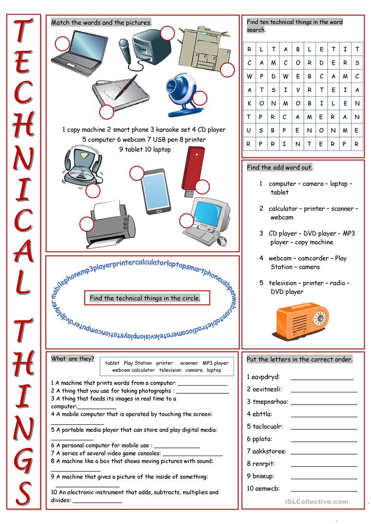 Modern Elementary School Classroom ~ Technical things vocabulary exercises worksheet free esl