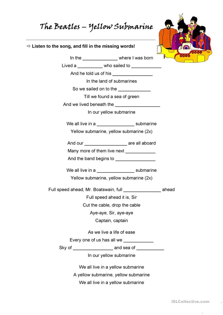 The Beatles + Song: Yellow Submarine - English ESL Worksheets