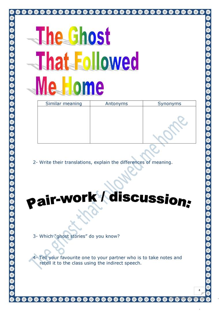 The Ghost thet followed me home - English ESL Worksheets