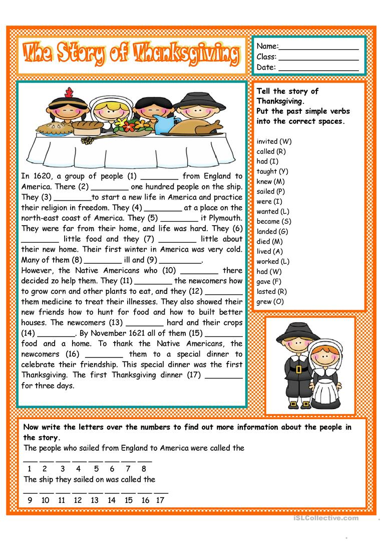 worksheet Thanksgiving Reading Comprehension Worksheets 10 free esl thanksgiving story worksheets the of thanksgiving