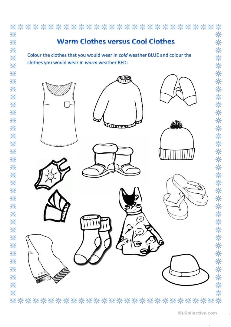 winter clothes english esl worksheets. Black Bedroom Furniture Sets. Home Design Ideas