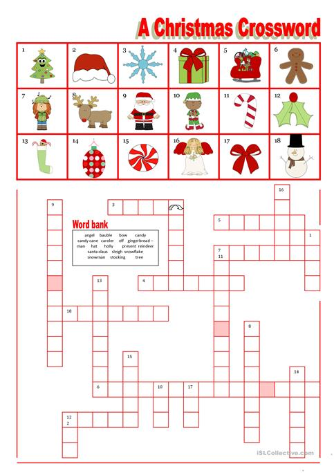 A Christmas Crossword With Word Bank