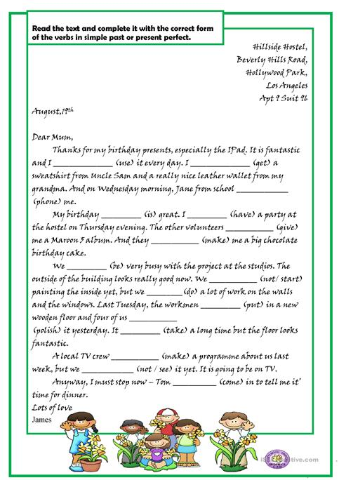 Present Perfect And Simple Letter Worksheet  Free Esl Printable