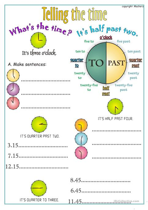 Telling The Time Worksheet Worksheet  Free Esl Printable Worksheets