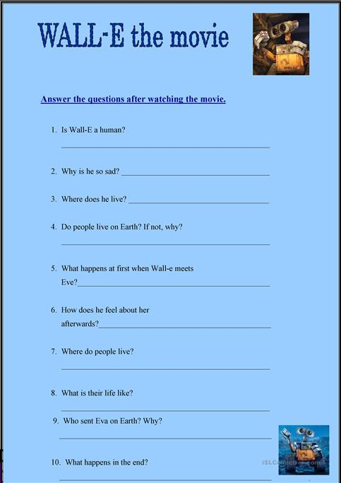 wall e the movie worksheet free esl printable worksheets made by