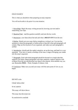 essay structure worksheets esl Worksheet/outline for analytical/argument essays 1  continue with the pattern of step 4 for as long as your essay  does the structure of my essay suit my.